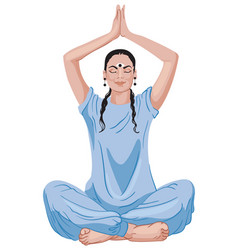 Mature oriental woman sitting in lotus position vector