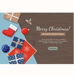 merry christmas banner presents balls vector image