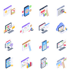 Mobile apps and web isometric icons pack vector