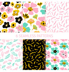 nature flower trendy seamless patterns vector image
