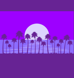 night landscape with palm trees and moon glare vector image