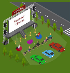Open air cinema concept 3d isometric view vector