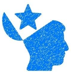 Open Head Star Grainy Texture Icon vector