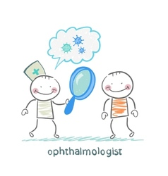 Ophthalmologist tells the patient about bacteria vector