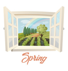 Outside view through window at spring field vector