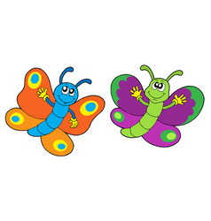 Pair of funny butterflies vector