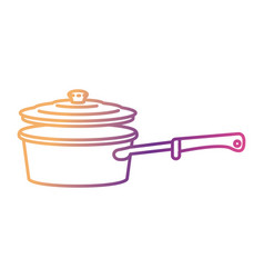 pan with handle and lid silhouette gradient color vector image