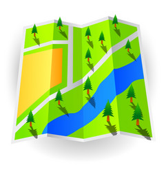 Paper world map with trees vector