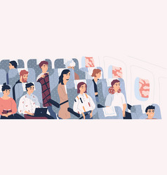 passengers on airplane board flat vector image