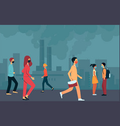 People in masks walk through smoky city with vector