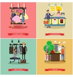 People shopping in a store concept posters vector