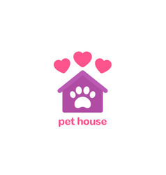 pet house logo paw and home with hearts vector image