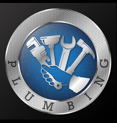 Plumbing repair tool in hand symbol vector