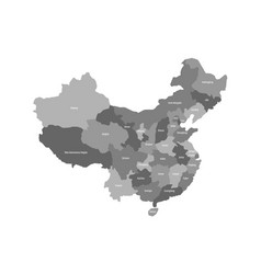 Political map of chinese provinces grey vector