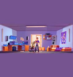 programmer or hacker in bedroom with computer vector image