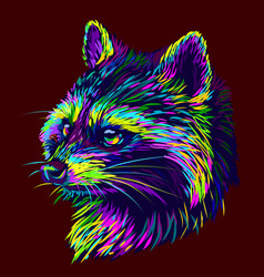 Raccoon abstract graphic multi-colored portrait vector