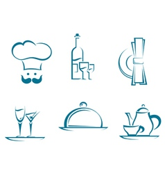 Restaurant icons and symbols vector