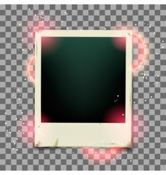 Retro photo frame on transparent background vector