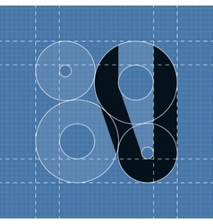Round engineering font Symbol V vector image