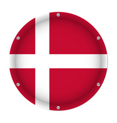 round metallic flag of denmark with screws vector image