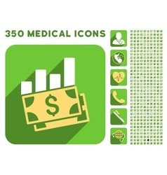 Sales Bar Chart Icon and Medical Longshadow Icon vector