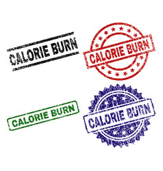 Scratched textured calorie burn stamp seals vector