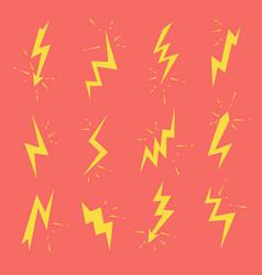 set lightning bolts icons thunderbolts vector image