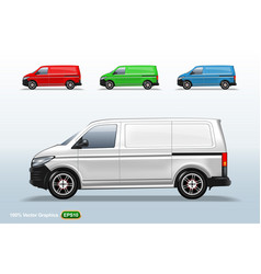 set of different color delivery van template vector image