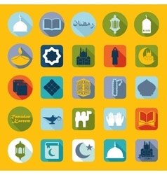 Set of flat icons Ramadan Kareem vector image