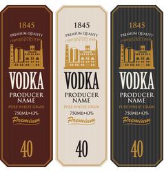 Set vodka labels with image a distillery vector