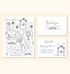 set wedding invitation cards with map vector image