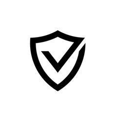 Shield with check mark black icon protection vector