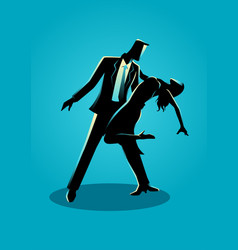 silhouette a couple dancing vector image
