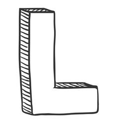 Single doodle sketch - the letter l vector