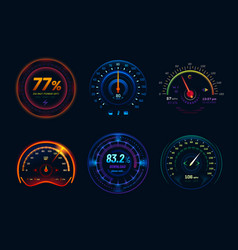 Speedometer neon light gauge arrows indicators vector