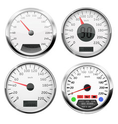 Speedometers collection of 3d speed gauges with vector