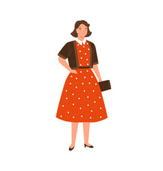 stylish young woman wearing red dotted dress vector image
