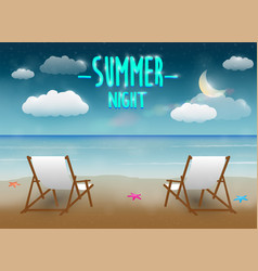 summer night with a chair and beach sea background vector image