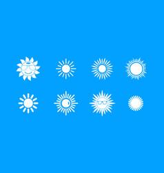 sun icon blue set vector image