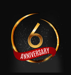 Template gold logo 6 years anniversary with red vector