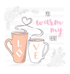 two cups with with a heart shaped steam vector image