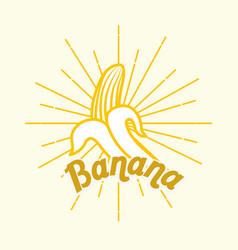 vintage style card fresh organic natural banana vector image