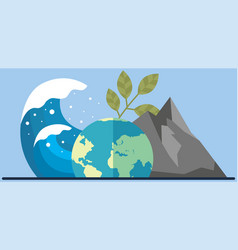 Visualization climate change on planet tsunami vector
