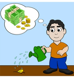 Watering money for it to grow vector