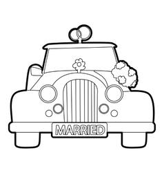 Wedding car icon outline style vector