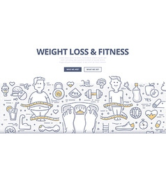 Weight Loss Fitness Doodle Concept vector