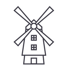 windmillholland line icon sign vector image