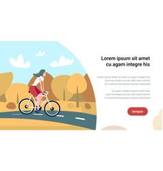 woman cyclotourisme autumn landscape background vector image