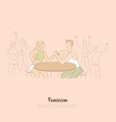 Women versus men friendly competition cheerful vector
