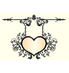 Wrought iron signboard in shape heart vector
